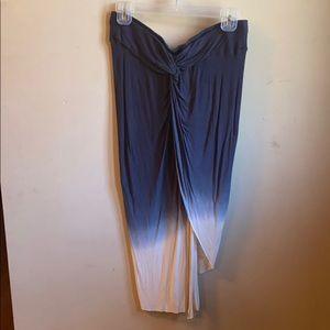 Asymmetrical long blue skirt